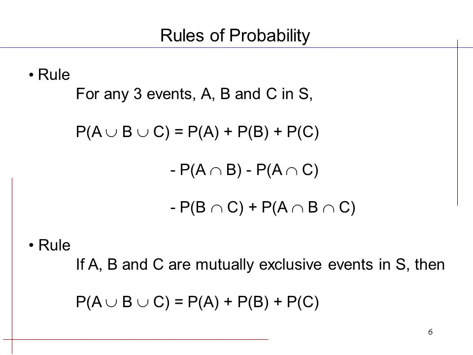 6 Rule For any 3 events, A, B and C in S, P(A  B  C) = P(A) + P(B) + P(C) - P(A  B) - P(A  C) - P(B  C) + P(A  B  C) Rule If A, B and C are mutually exclusive events in S, then P(A  B  C) = P(A) + P(B) + P(C) Rules of Probability