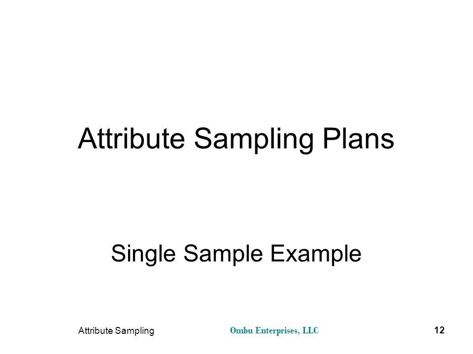 Ombu Enterprises, LLC Attribute Sampling 12 Attribute Sampling Plans Single Sample Example