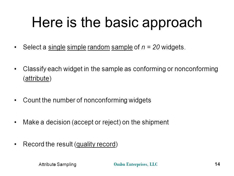 Ombu Enterprises, LLC Attribute Sampling 14 Here is the basic approach Select a single simple random sample of n = 20 widgets. Classify each widget in