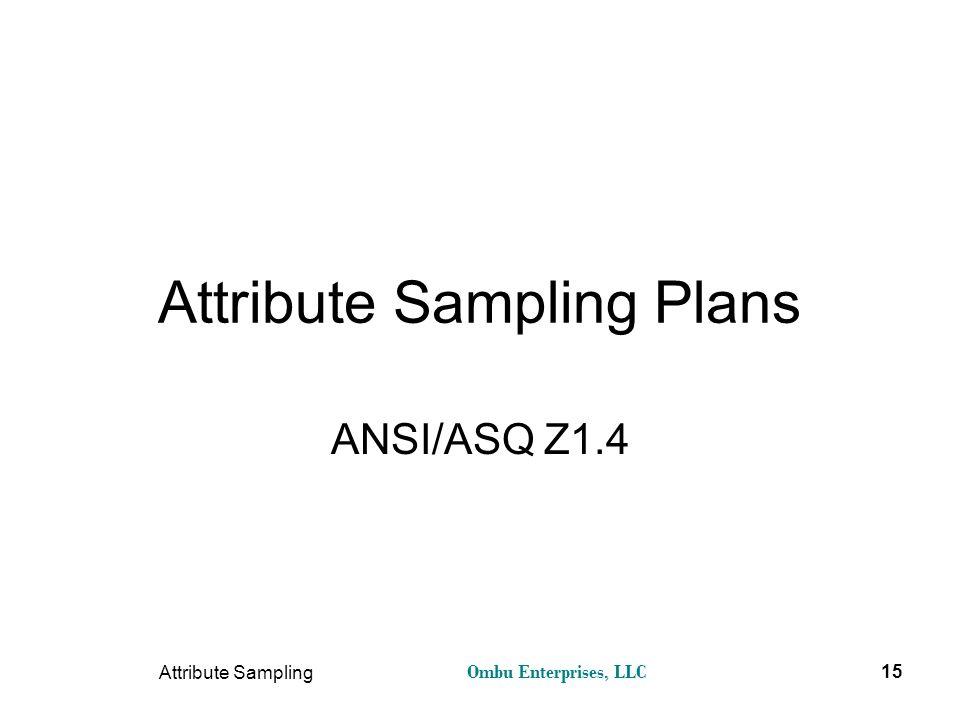 Ombu Enterprises, LLC Attribute Sampling 15 Attribute Sampling Plans ANSI/ASQ Z1.4