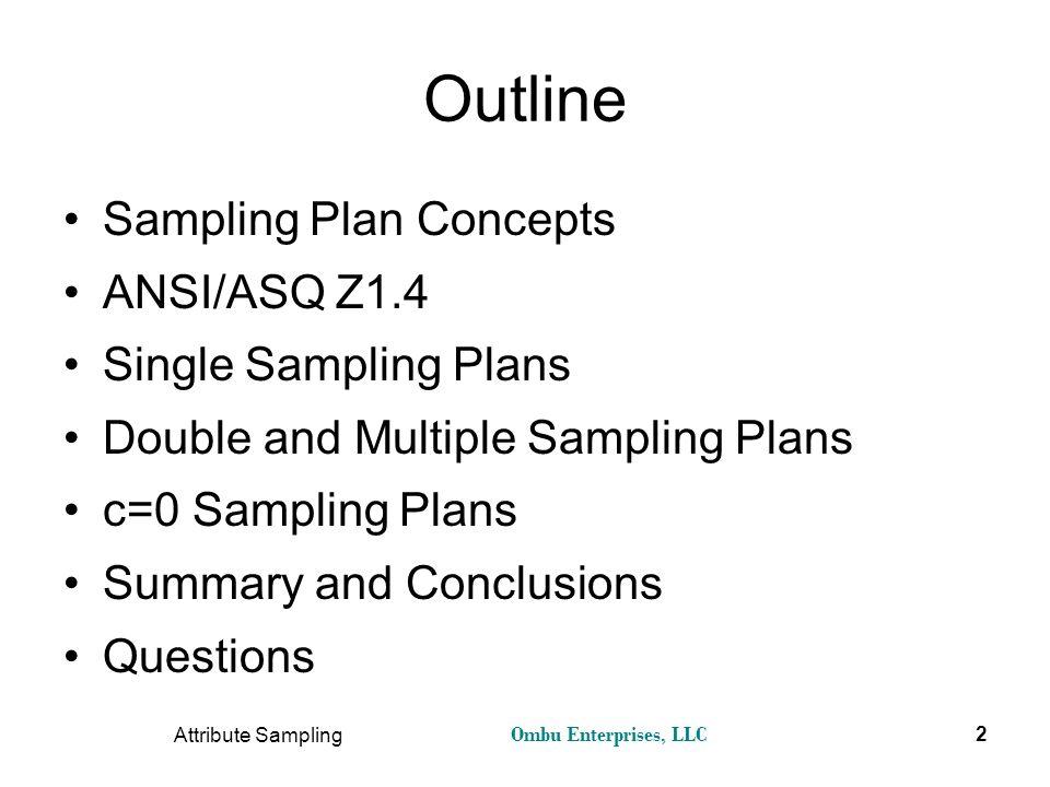 Ombu Enterprises, LLC Attribute Sampling 2 Outline Sampling Plan Concepts ANSI/ASQ Z1.4 Single Sampling Plans Double and Multiple Sampling Plans c=0 S