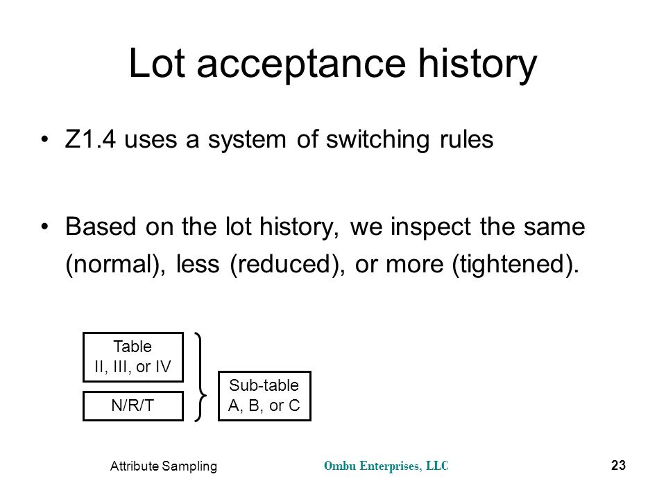 Ombu Enterprises, LLC Attribute Sampling 23 Lot acceptance history Z1.4 uses a system of switching rules Based on the lot history, we inspect the same