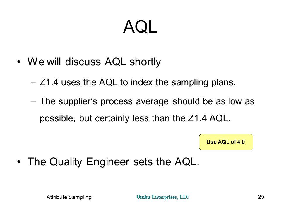 Ombu Enterprises, LLC Attribute Sampling 25 AQL We will discuss AQL shortly –Z1.4 uses the AQL to index the sampling plans. –The supplier's process av