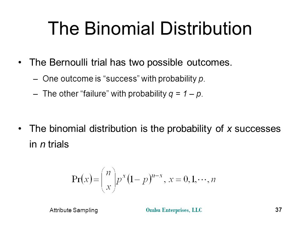 """Ombu Enterprises, LLC Attribute Sampling 37 The Binomial Distribution The Bernoulli trial has two possible outcomes. –One outcome is """"success"""" with pr"""
