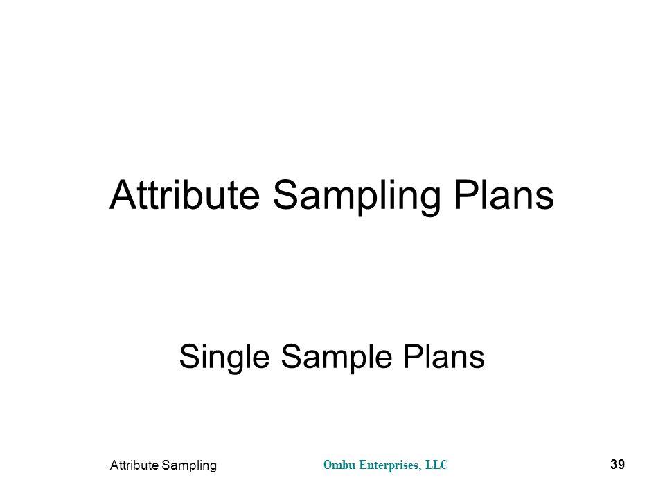 Ombu Enterprises, LLC Attribute Sampling 39 Attribute Sampling Plans Single Sample Plans