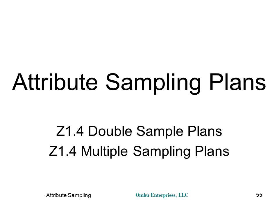 Ombu Enterprises, LLC Attribute Sampling 55 Attribute Sampling Plans Z1.4 Double Sample Plans Z1.4 Multiple Sampling Plans