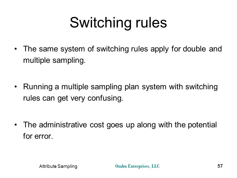 Ombu Enterprises, LLC Attribute Sampling 57 Switching rules The same system of switching rules apply for double and multiple sampling. Running a multi