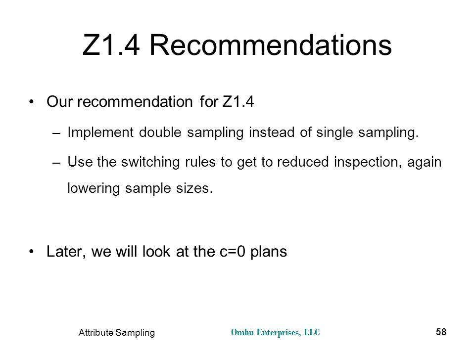 Ombu Enterprises, LLC Attribute Sampling 58 Z1.4 Recommendations Our recommendation for Z1.4 –Implement double sampling instead of single sampling. –U
