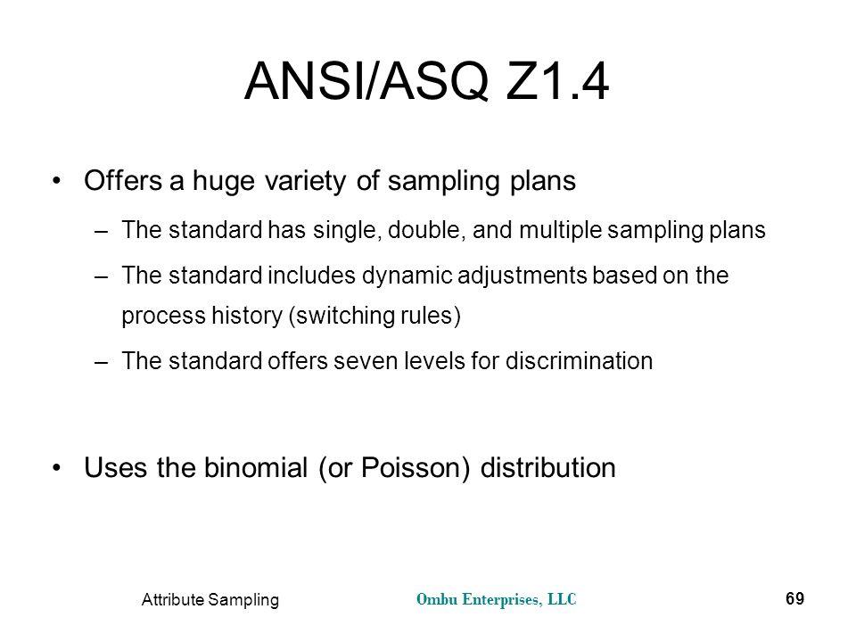 Ombu Enterprises, LLC Attribute Sampling 69 ANSI/ASQ Z1.4 Offers a huge variety of sampling plans –The standard has single, double, and multiple sampl
