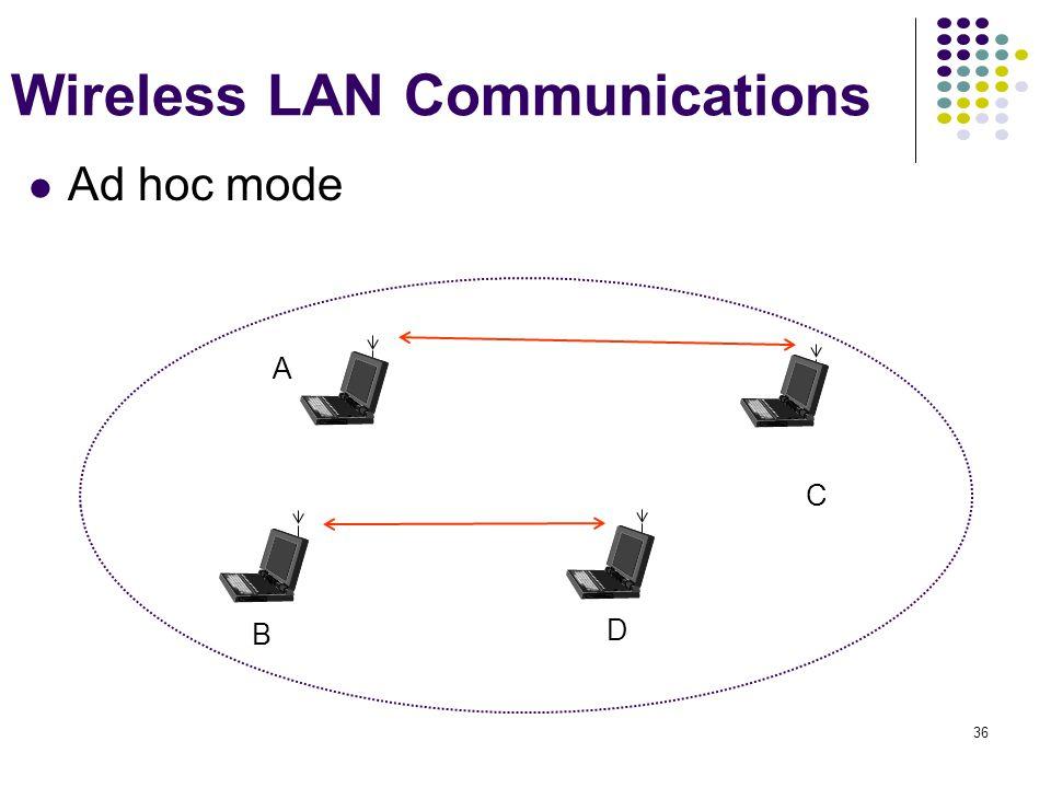 36 B D C A Wireless LAN Communications Ad hoc mode