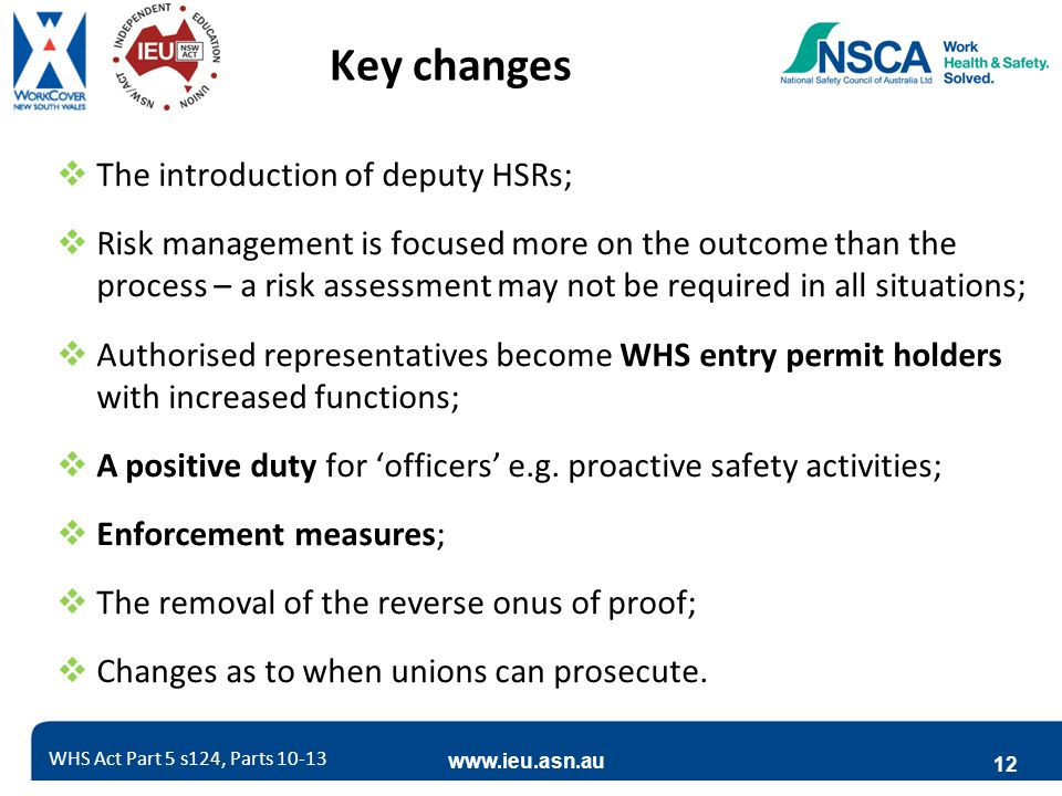 www.ieu.asn.au 12 Key changes  The introduction of deputy HSRs;  Risk management is focused more on the outcome than the process – a risk assessment