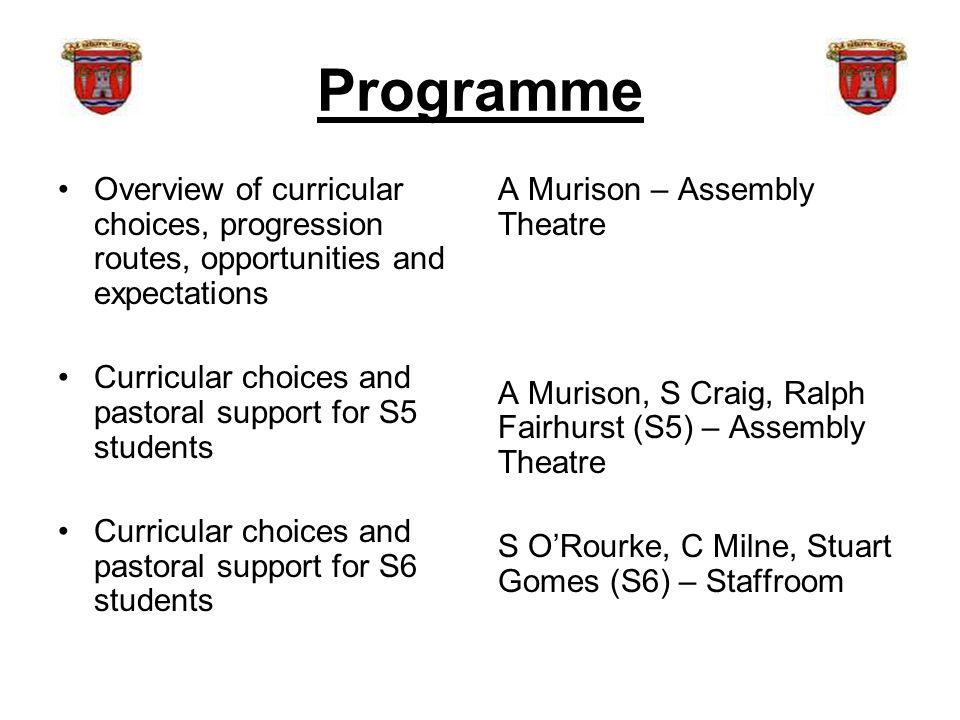 Programme Overview of curricular choices, progression routes, opportunities and expectations Curricular choices and pastoral support for S5 students Curricular choices and pastoral support for S6 students A Murison – Assembly Theatre A Murison, S Craig, Ralph Fairhurst (S5) – Assembly Theatre S O'Rourke, C Milne, Stuart Gomes (S6) – Staffroom