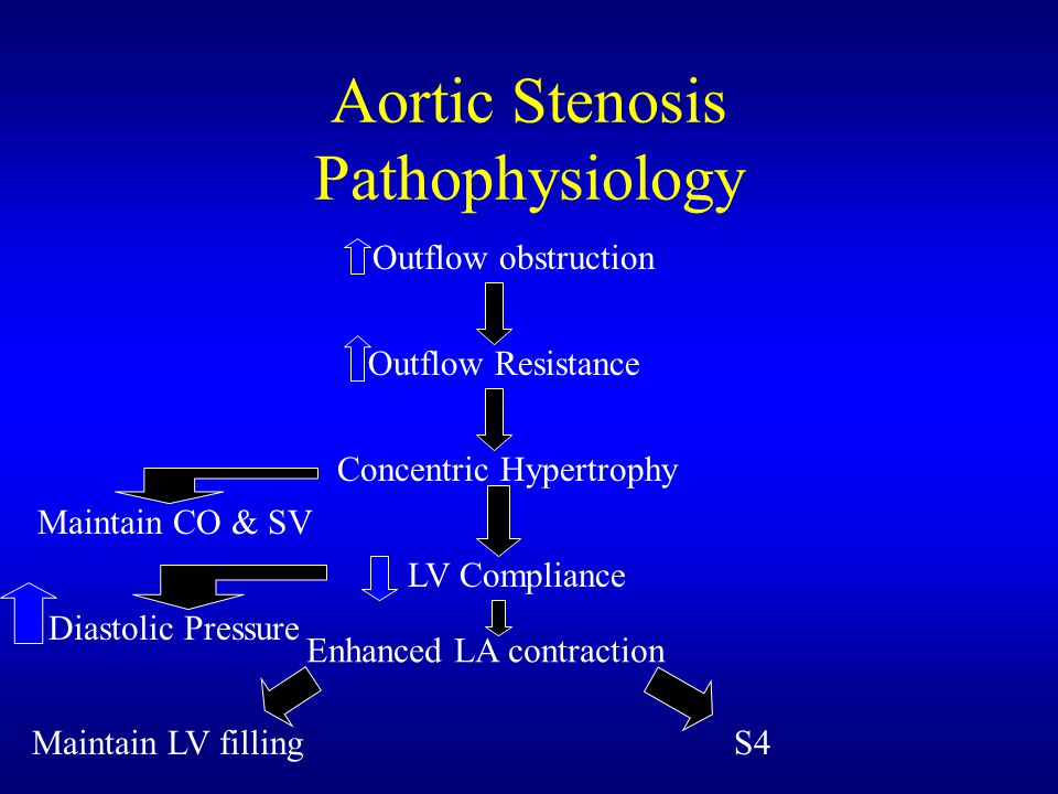 Aortic Stenosis Pathophysiology Outflow obstruction Outflow Resistance LV Compliance Concentric Hypertrophy Enhanced LA contraction Maintain CO & SV D