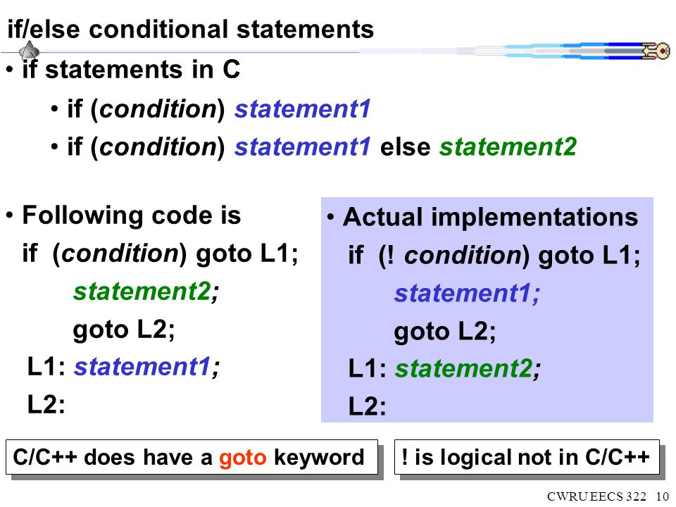 CWRU EECS 32210 if/else conditional statements if statements in C if (condition) statement1 if (condition) statement1 else statement2 Following code i