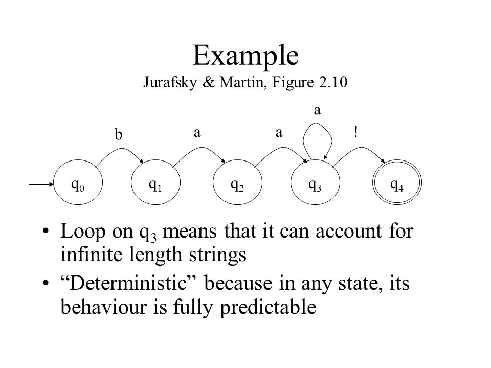 Non-deterministic FSA Jurafsky & Martin, Figure 2.18 At state q 2 with input a there is a choice of transitions We can also have jump arcs (or empty transitions), which also introduce non- determinism q0q0 q1q1 q2q2 q3q3 q4q4 b aa.