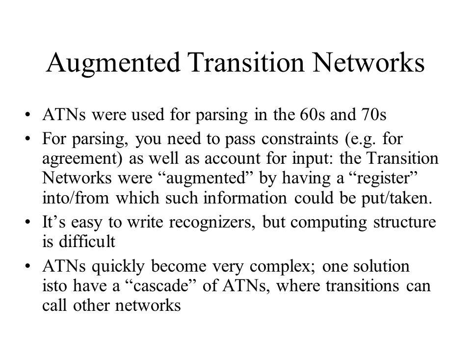 Augmented Transition Networks Sq1q1 NPq1q1 ex push NP put num det put num push VP get num n put num adj q2q2 ε pop NPprep