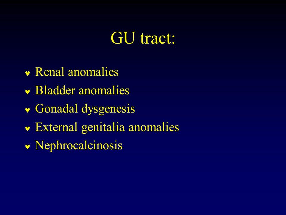 GU tract: Renal anomalies Bladder anomalies Gonadal dysgenesis External genitalia anomalies Nephrocalcinosis
