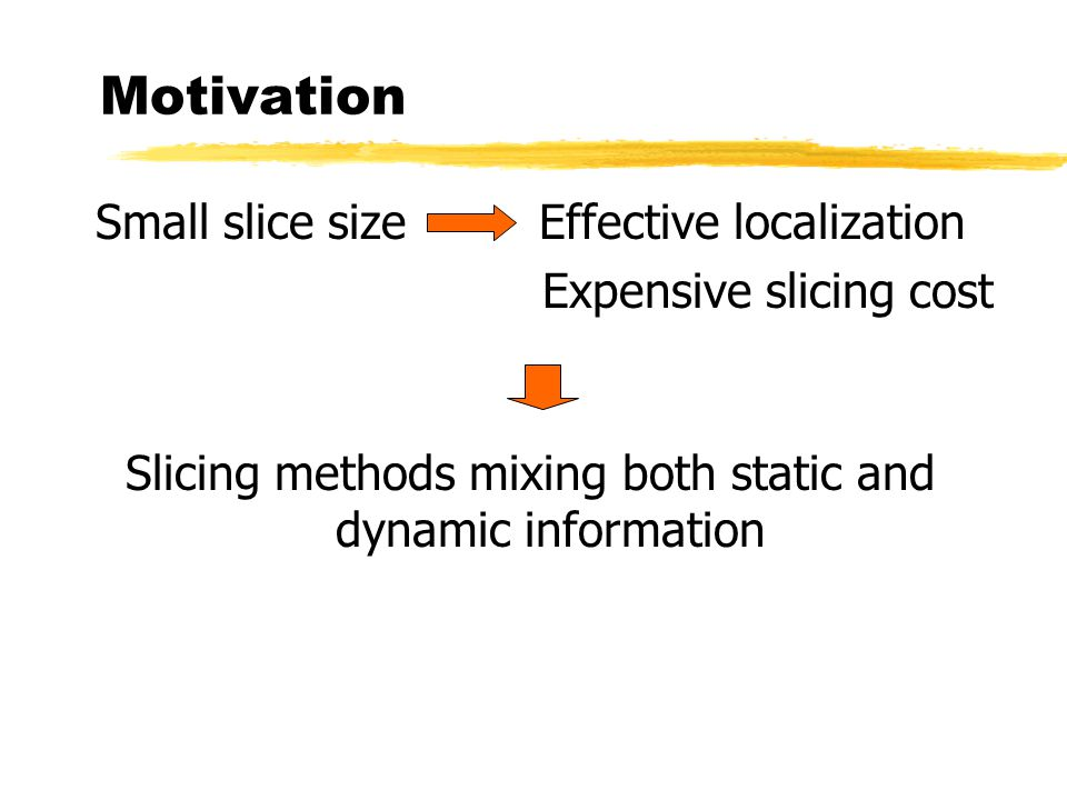 Motivation Small slice size Effective localization Expensive slicing cost Slicing methods mixing both static and dynamic information