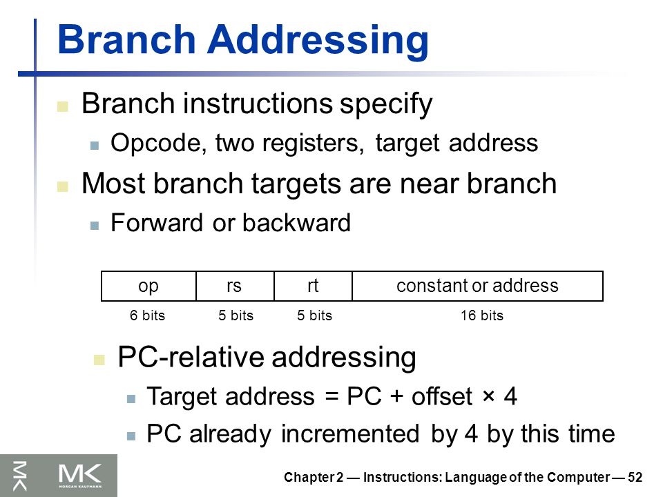 Chapter 2 — Instructions: Language of the Computer — 52 Branch Addressing Branch instructions specify Opcode, two registers, target address Most branch targets are near branch Forward or backward oprsrtconstant or address 6 bits5 bits 16 bits PC-relative addressing Target address = PC + offset × 4 PC already incremented by 4 by this time