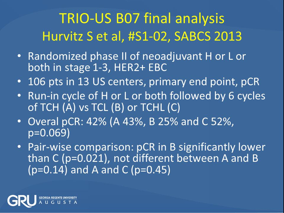 TRIO-US B07 final analysis Hurvitz S et al, #S1-02, SABCS 2013 Randomized phase II of neoadjuvant H or L or both in stage 1-3, HER2+ EBC 106 pts in 13 US centers, primary end point, pCR Run-in cycle of H or L or both followed by 6 cycles of TCH (A) vs TCL (B) or TCHL (C) Overal pCR: 42% (A 43%, B 25% and C 52%, p=0.069) Pair-wise comparison: pCR in B significantly lower than C (p=0.021), not different between A and B (p=0.14) and A and C (p=0.45)