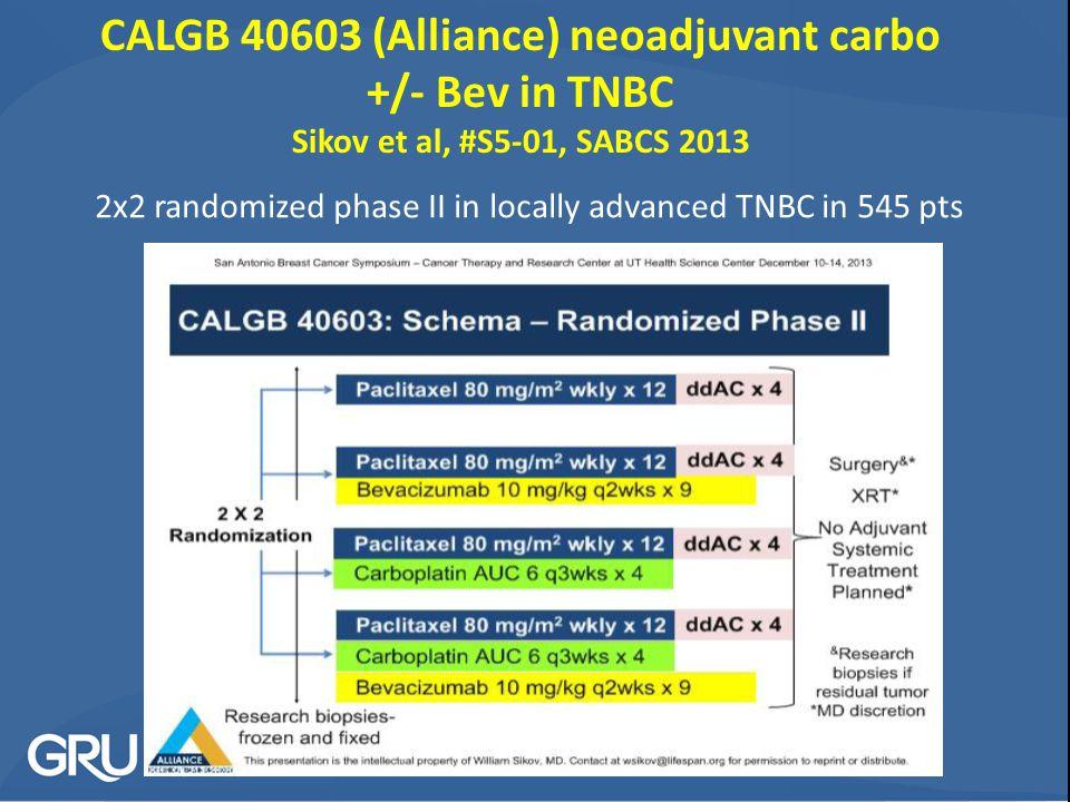 CALGB 40603 (Alliance) neoadjuvant carbo +/- Bev in TNBC Sikov et al, #S5-01, SABCS 2013 2x2 randomized phase II in locally advanced TNBC in 545 pts
