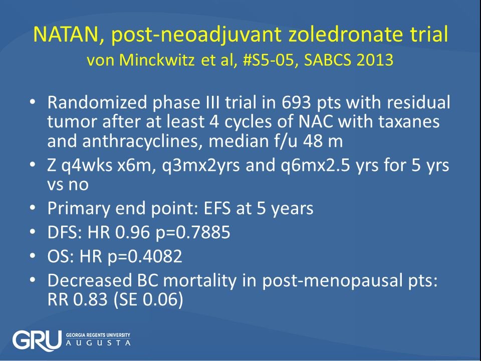 NATAN, post-neoadjuvant zoledronate trial von Minckwitz et al, #S5-05, SABCS 2013 Randomized phase III trial in 693 pts with residual tumor after at least 4 cycles of NAC with taxanes and anthracyclines, median f/u 48 m Z q4wks x6m, q3mx2yrs and q6mx2.5 yrs for 5 yrs vs no Primary end point: EFS at 5 years DFS: HR 0.96 p=0.7885 OS: HR p=0.4082 Decreased BC mortality in post-menopausal pts: RR 0.83 (SE 0.06)