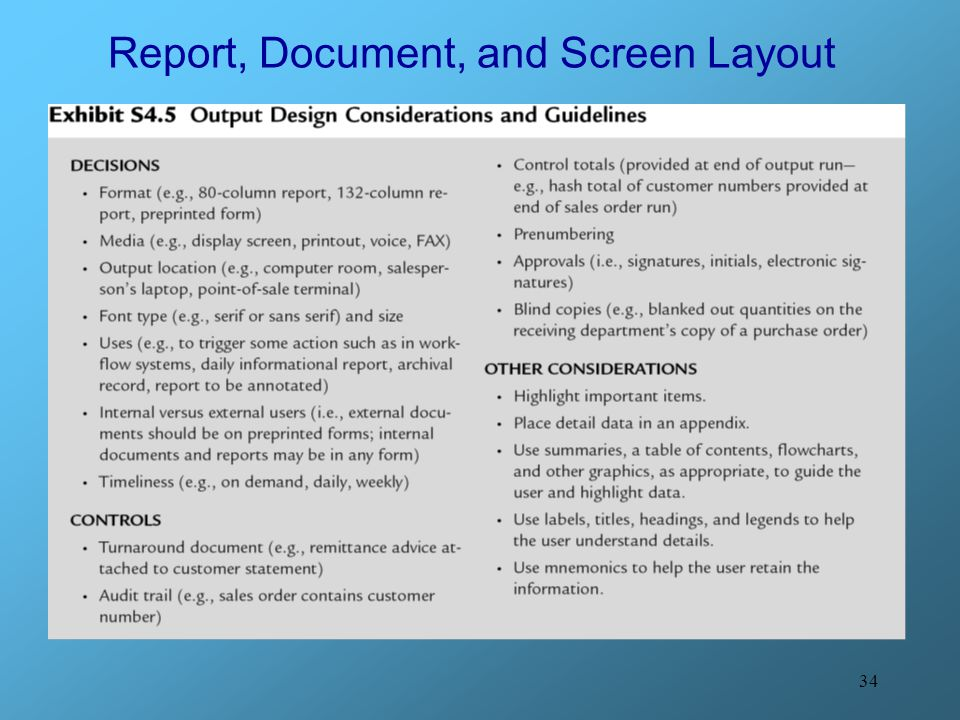 34 Report, Document, and Screen Layout