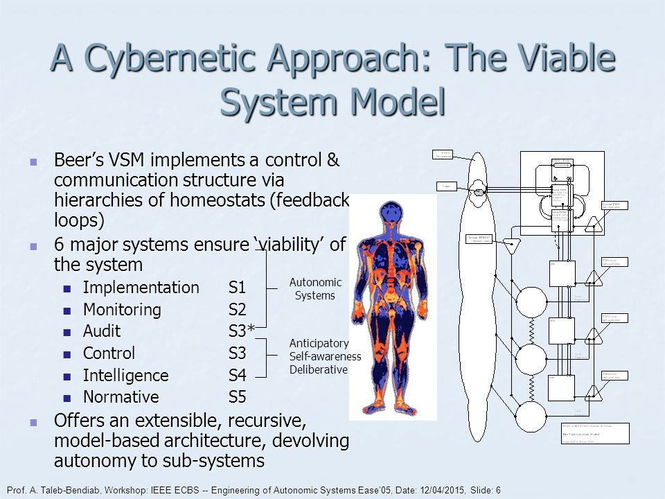 Prof. A. Taleb-Bendiab, Workshop: IEEE ECBS -- Engineering of Autonomic Systems Ease'05, Date: 12/04/2015, Slide: 6 A Cybernetic Approach: The Viable