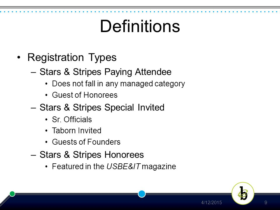 Definitions Registration Types –Stars & Stripes Paying Attendee Does not fall in any managed category Guest of Honorees –Stars & Stripes Special Invited Sr.
