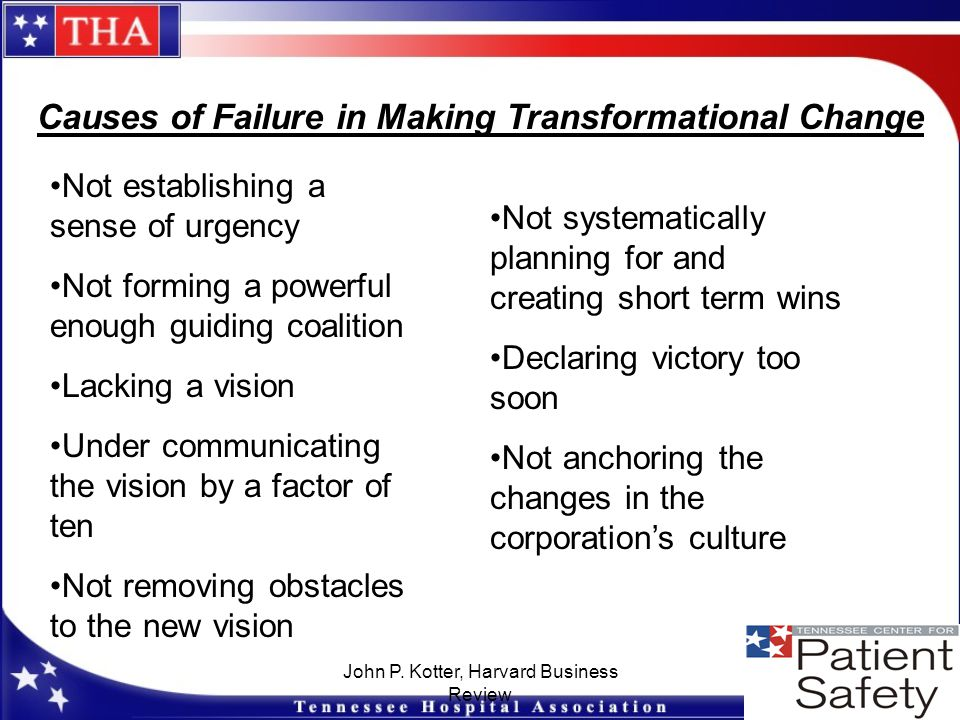 John P. Kotter, Harvard Business Review Causes of Failure in Making Transformational Change Not establishing a sense of urgency Not forming a powerful