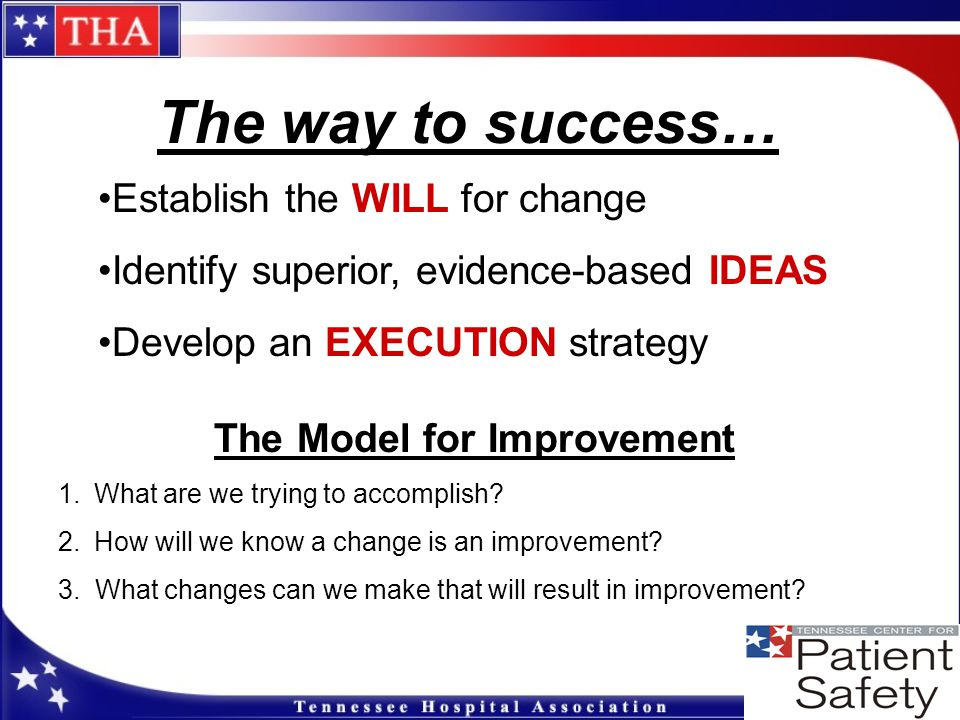 Winning Execution Strategies Pick a patient segment upon which to test Work with those who want to work with you Small tests of change, small tests of change, small tests of change Learn as you go: develop process for review and improvement Encourage customization