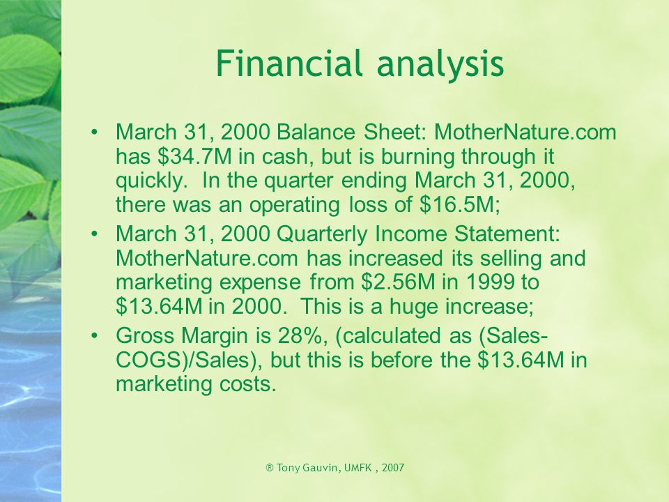 ® Tony Gauvin, UMFK, 2007 Financial analysis March 31, 2000 Balance Sheet: MotherNature.com has $34.7M in cash, but is burning through it quickly. In