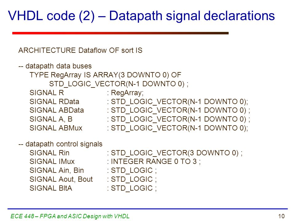 10ECE 448 – FPGA and ASIC Design with VHDL VHDL code (2) – Datapath signal declarations ARCHITECTURE Dataflow OF sort IS -- datapath data buses TYPE RegArray IS ARRAY(3 DOWNTO 0) OF STD_LOGIC_VECTOR(N-1 DOWNTO 0) ; SIGNAL R : RegArray; SIGNAL RData : STD_LOGIC_VECTOR(N-1 DOWNTO 0); SIGNAL ABData : STD_LOGIC_VECTOR(N-1 DOWNTO 0) ; SIGNAL A, B : STD_LOGIC_VECTOR(N-1 DOWNTO 0) ; SIGNAL ABMux : STD_LOGIC_VECTOR(N-1 DOWNTO 0); -- datapath control signals SIGNAL Rin : STD_LOGIC_VECTOR(3 DOWNTO 0) ; SIGNAL IMux : INTEGER RANGE 0 TO 3 ; SIGNAL Ain, Bin : STD_LOGIC ; SIGNAL Aout, Bout : STD_LOGIC ; SIGNAL BltA : STD_LOGIC ;