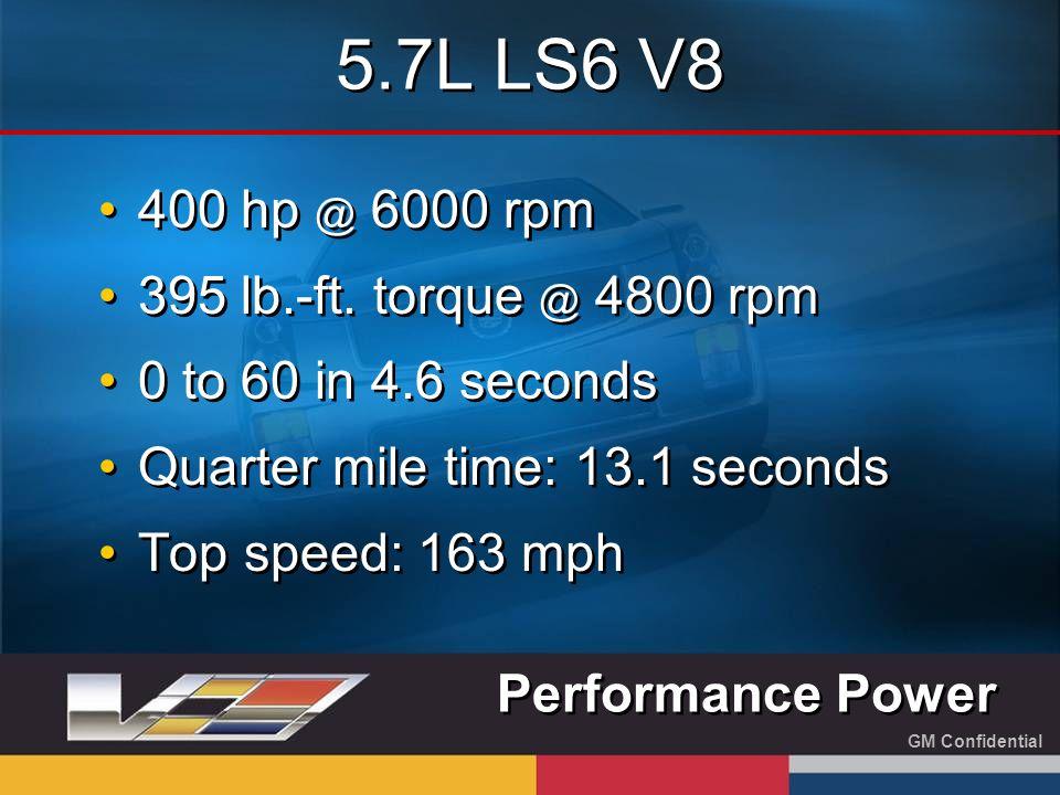 GM Confidential 5.7L LS6 V8 400 hp @ 6000 rpm 395 lb.-ft.