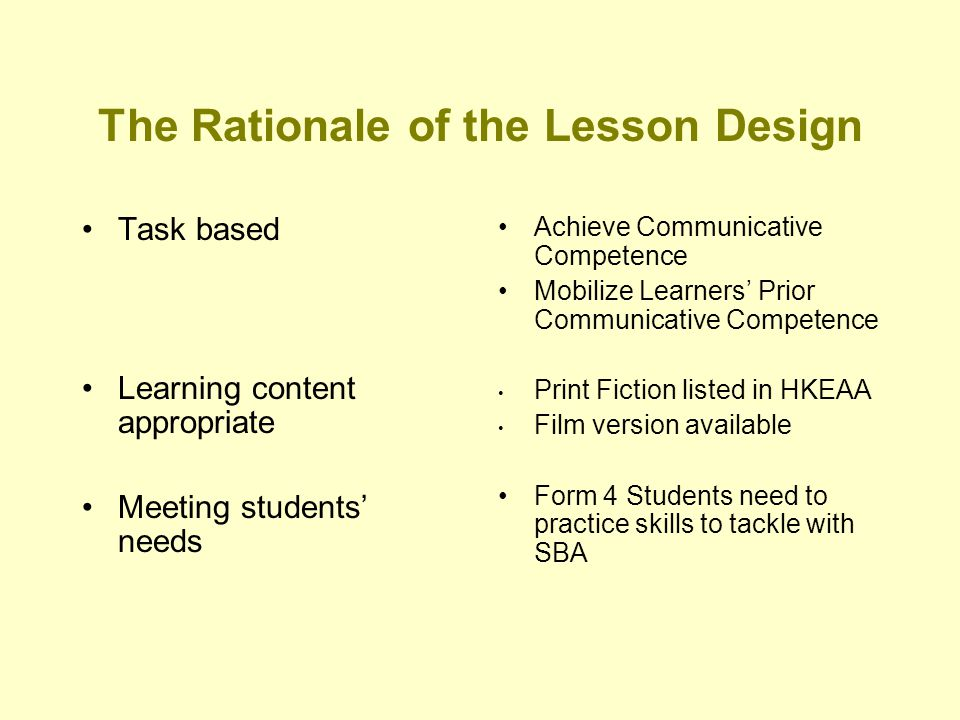 The Rationale of the Lesson Design Task based Learning content appropriate Meeting students' needs Achieve Communicative Competence Mobilize Learners' Prior Communicative Competence Print Fiction listed in HKEAA Film version available Form 4 Students need to practice skills to tackle with SBA