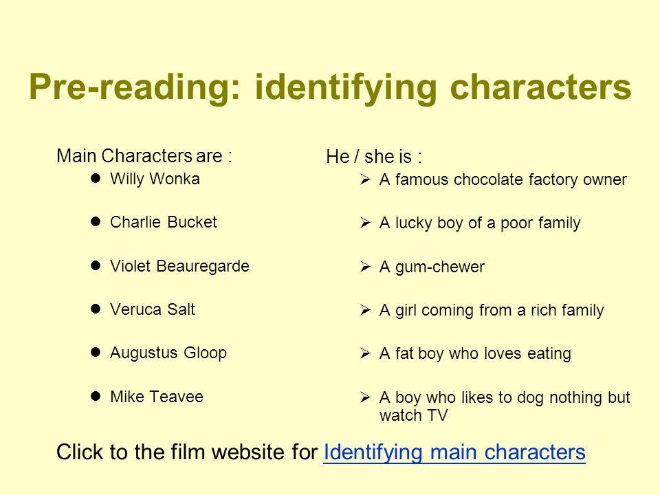 Pre-reading: identifying characters Main Characters are : Willy Wonka Charlie Bucket Violet Beauregarde Veruca Salt Augustus Gloop Mike Teavee He / sh