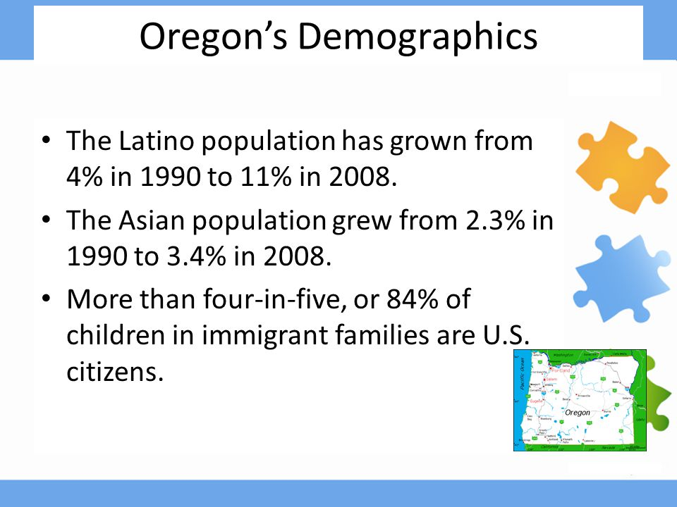 Oregon's Demographics The Latino population has grown from 4% in 1990 to 11% in 2008.