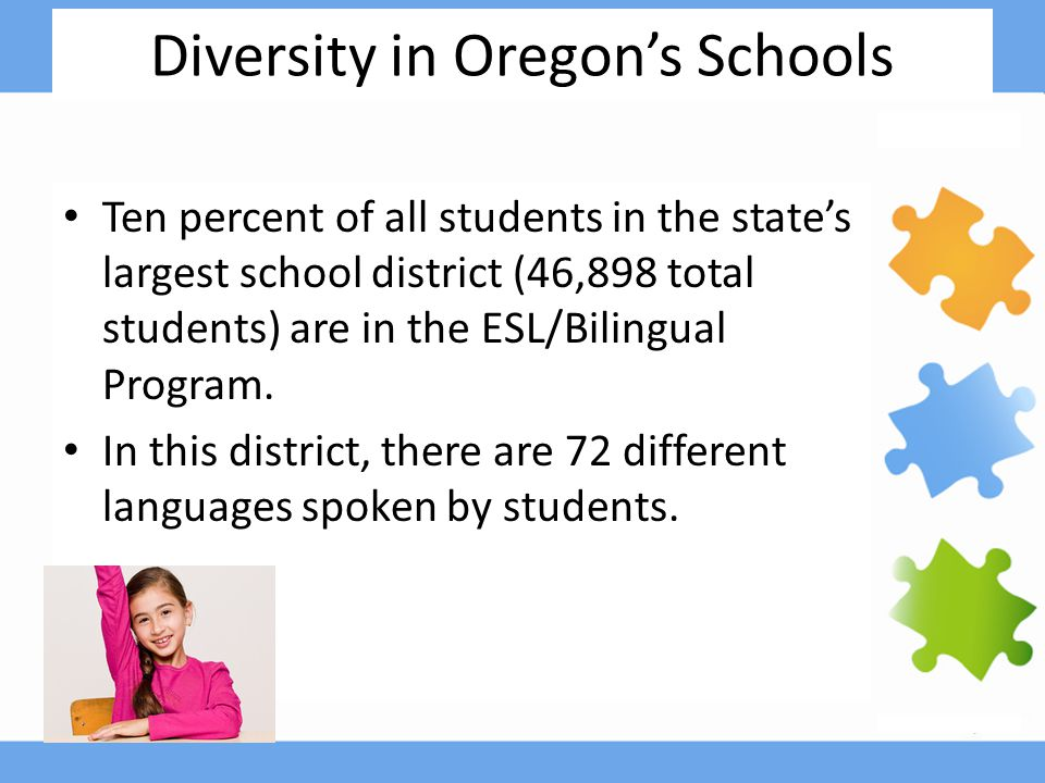 Diversity in Oregon's Schools Ten percent of all students in the state's largest school district (46,898 total students) are in the ESL/Bilingual Program.