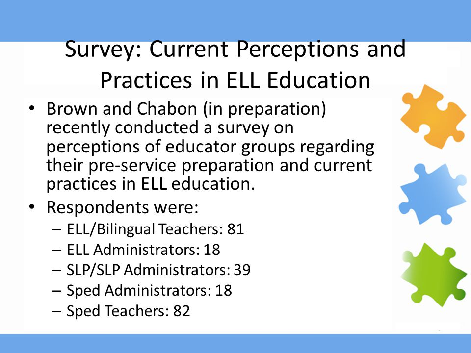 Survey: Current Perceptions and Practices in ELL Education Brown and Chabon (in preparation) recently conducted a survey on perceptions of educator groups regarding their pre-service preparation and current practices in ELL education.