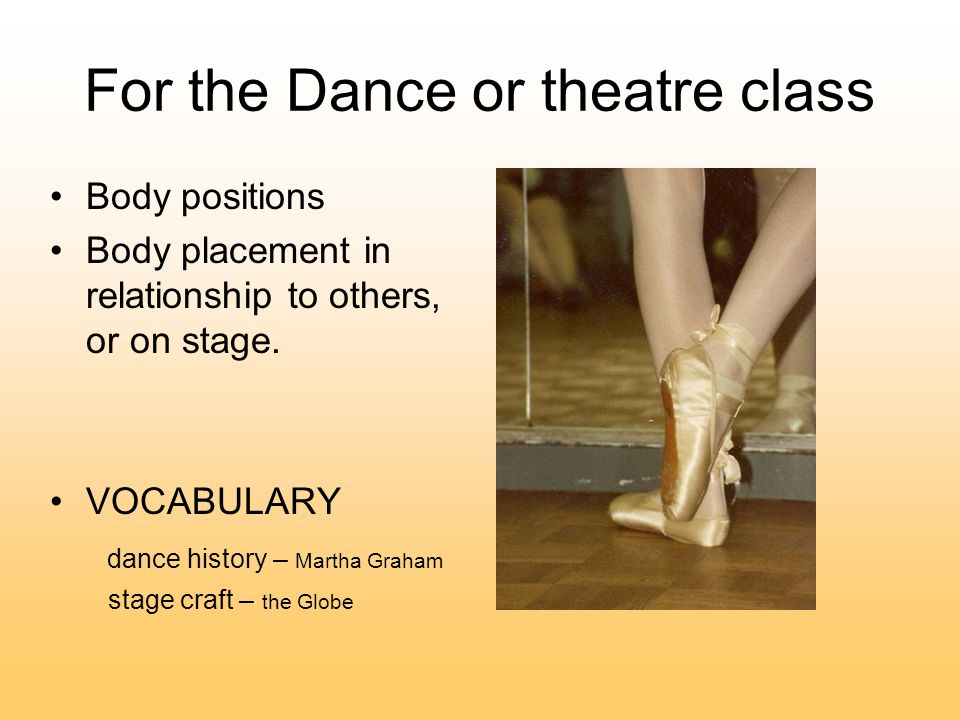 For the Dance or theatre class Body positions Body placement in relationship to others, or on stage.