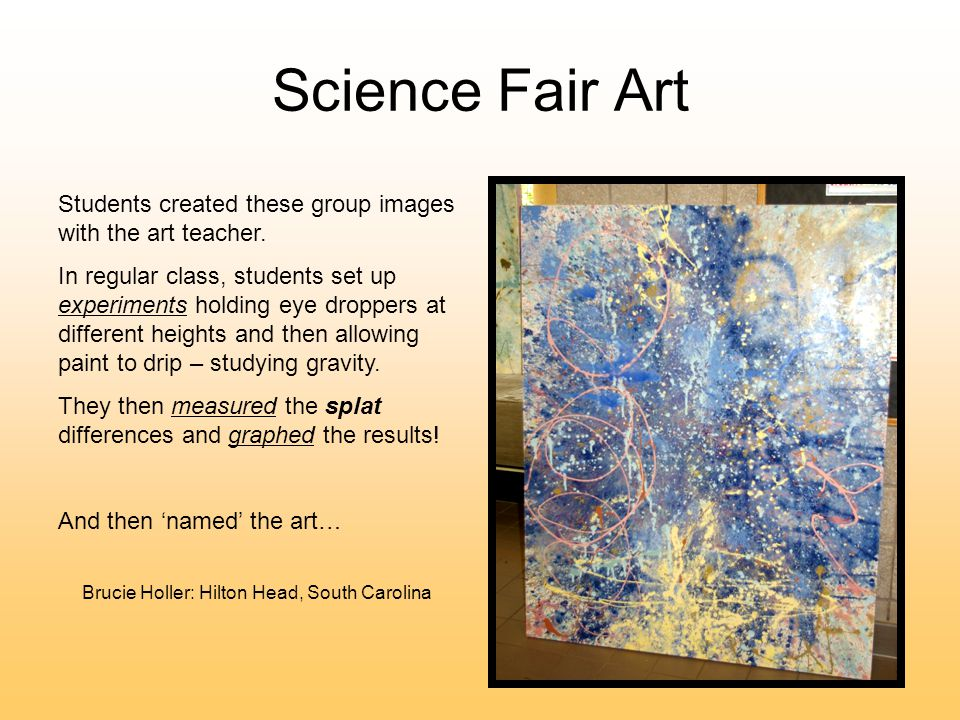 Science Fair Art Students created these group images with the art teacher.