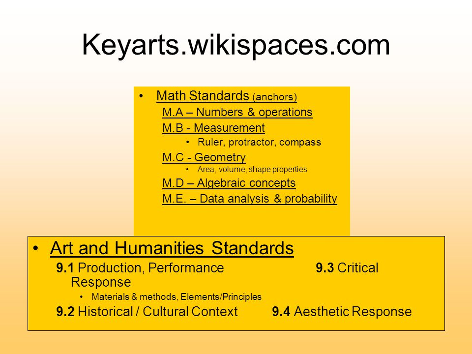 Keyarts.wikispaces.com Math Standards (anchors) M.A – Numbers & operations M.B - Measurement Ruler, protractor, compass M.C - Geometry Area, volume, shape properties M.D – Algebraic concepts M.E.