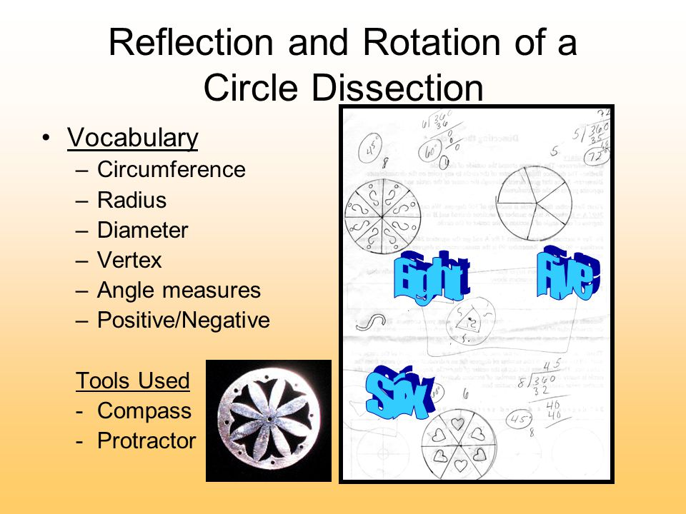 Reflection and Rotation of a Circle Dissection Vocabulary –Circumference –Radius –Diameter –Vertex –Angle measures –Positive/Negative Tools Used -Compass -Protractor