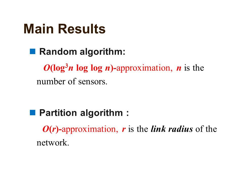 Main Results Random algorithm: Ο(log 3 n log log n)-approximation, n is the number of sensors. Partition algorithm : Ο(r)-approximation, r is the link