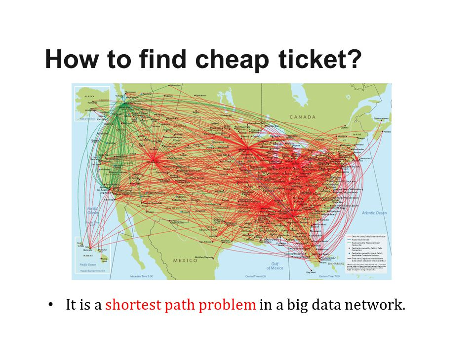 It is a shortest path problem in a big data network. How to find cheap ticket?