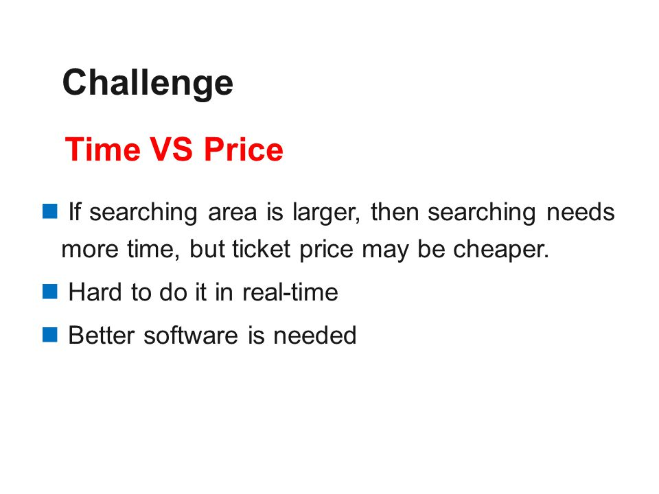 If searching area is larger, then searching needs more time, but ticket price may be cheaper. Hard to do it in real-time Better software is needed Tim