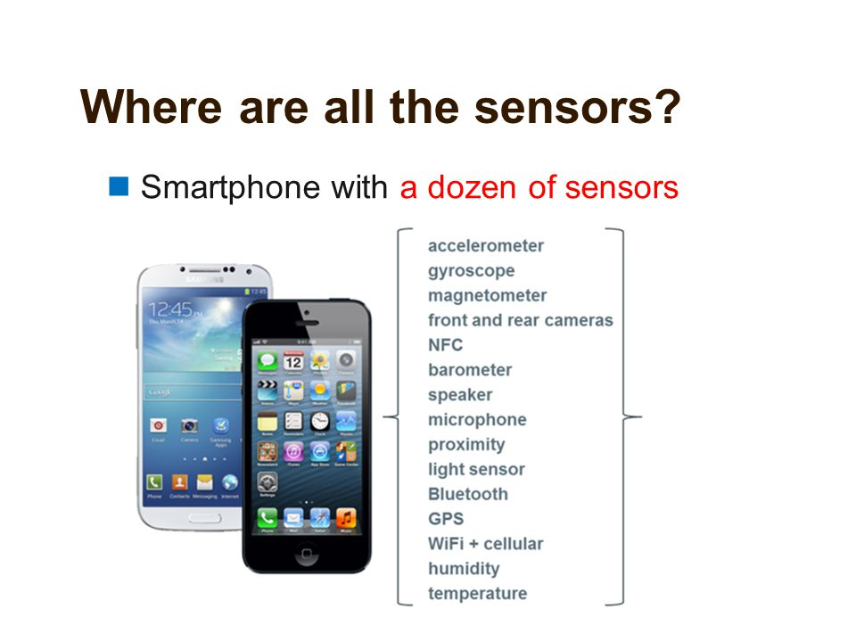 Where are all the sensors? Smartphone with a dozen of sensors