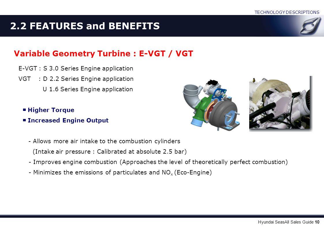Hyundai SeasAll Sales Guide 10 Variable Geometry Turbine : E-VGT / VGT E-VGT : S 3.0 Series Engine application VGT : D 2.2 Series Engine application U