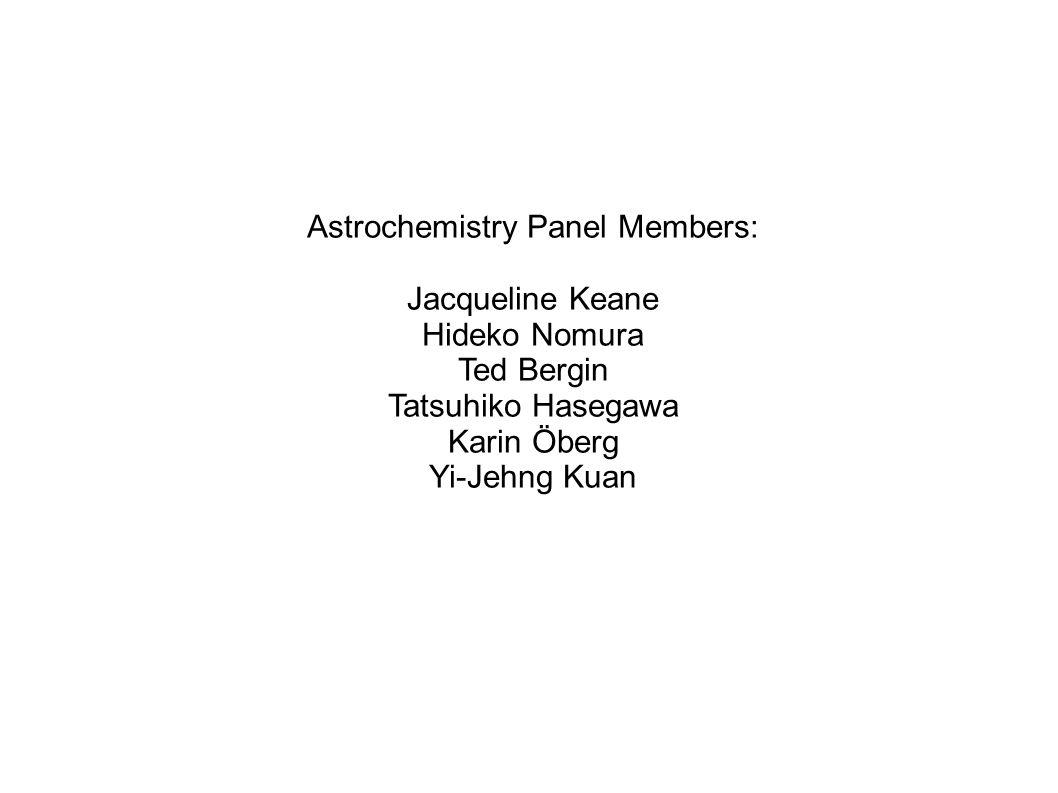 Astrochemistry Panel Members: Jacqueline Keane Hideko Nomura Ted Bergin Tatsuhiko Hasegawa Karin Öberg Yi-Jehng Kuan