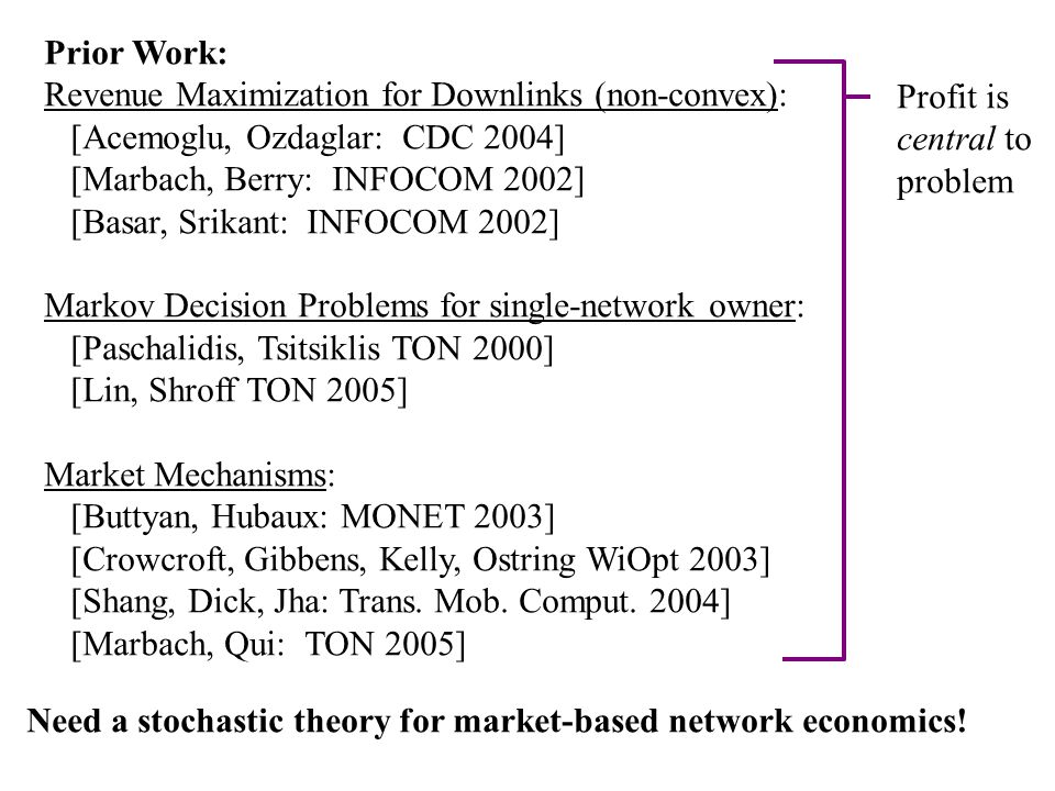 Prior Work: Revenue Maximization for Downlinks (non-convex): [Acemoglu, Ozdaglar: CDC 2004] [Marbach, Berry: INFOCOM 2002] [Basar, Srikant: INFOCOM 2002] Markov Decision Problems for single-network owner: [Paschalidis, Tsitsiklis TON 2000] [Lin, Shroff TON 2005] Market Mechanisms: [Buttyan, Hubaux: MONET 2003] [Crowcroft, Gibbens, Kelly, Ostring WiOpt 2003] [Shang, Dick, Jha: Trans.